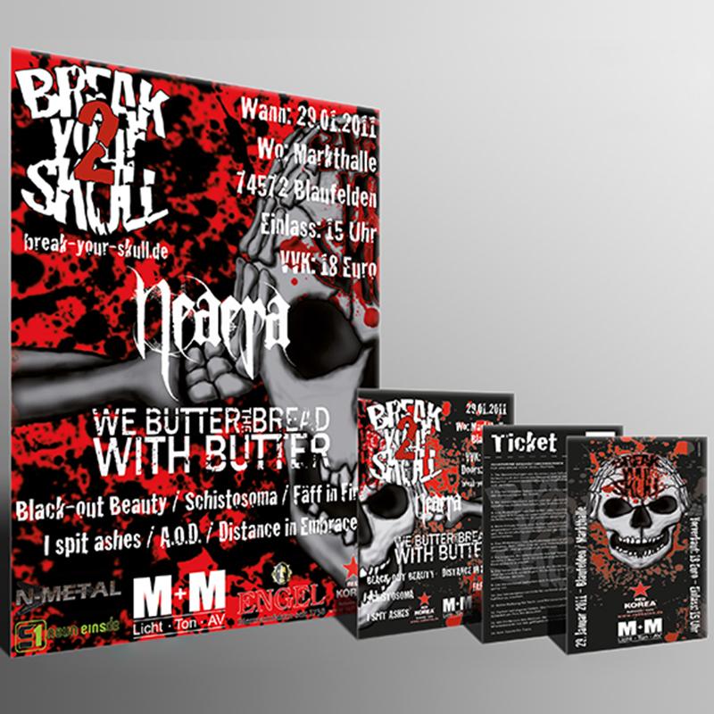 """Konzertposter-, flyer und -tickets für das """"Break your Skull""""-Festival"""