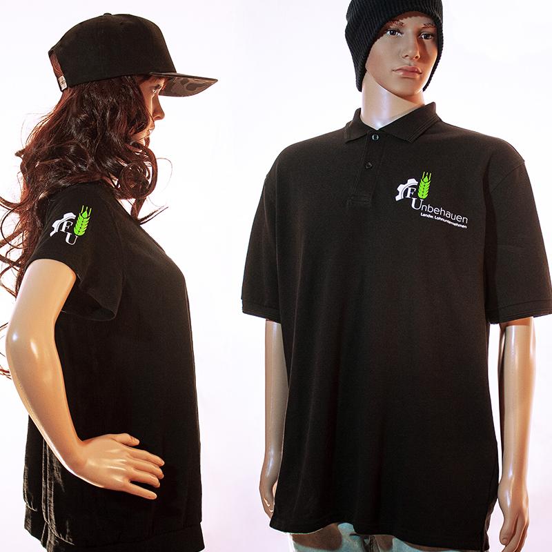 Polo-Shirts mit Firmenlogo auf Brust und Ärmel Unbehauen, Schainbach