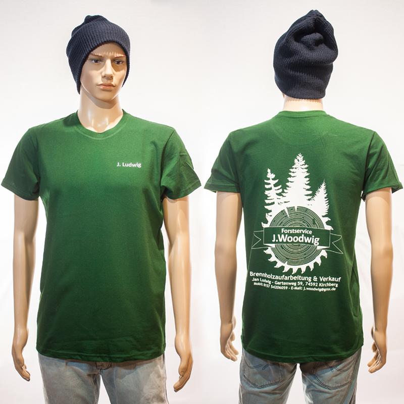 Arbeits-T-Shirts mit Namen und großem Rückendruck Woodwig, Lendsiedel